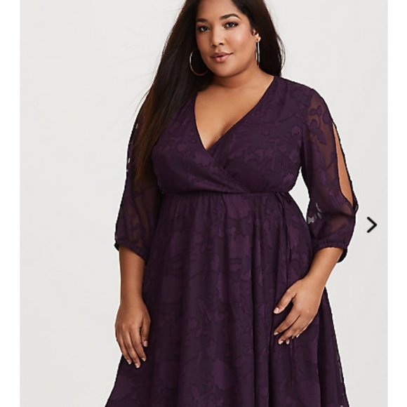 640991bc76 Torrid purple burnout wrap dress. M 5b5c85ea5c445210ffd790c8
